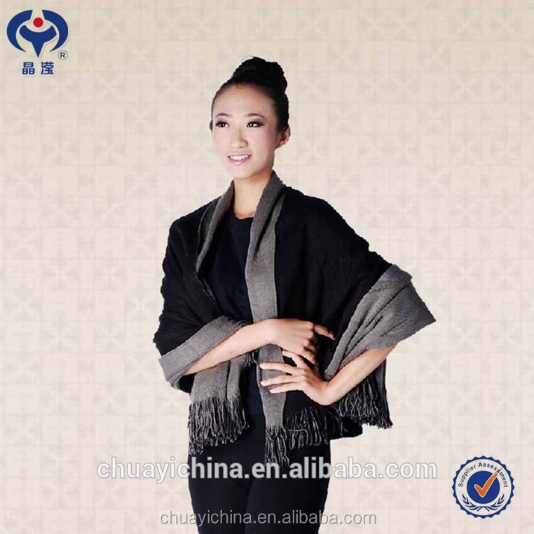 Wholesale Shining Young Lady Knitted Tatting Scarf Shawl