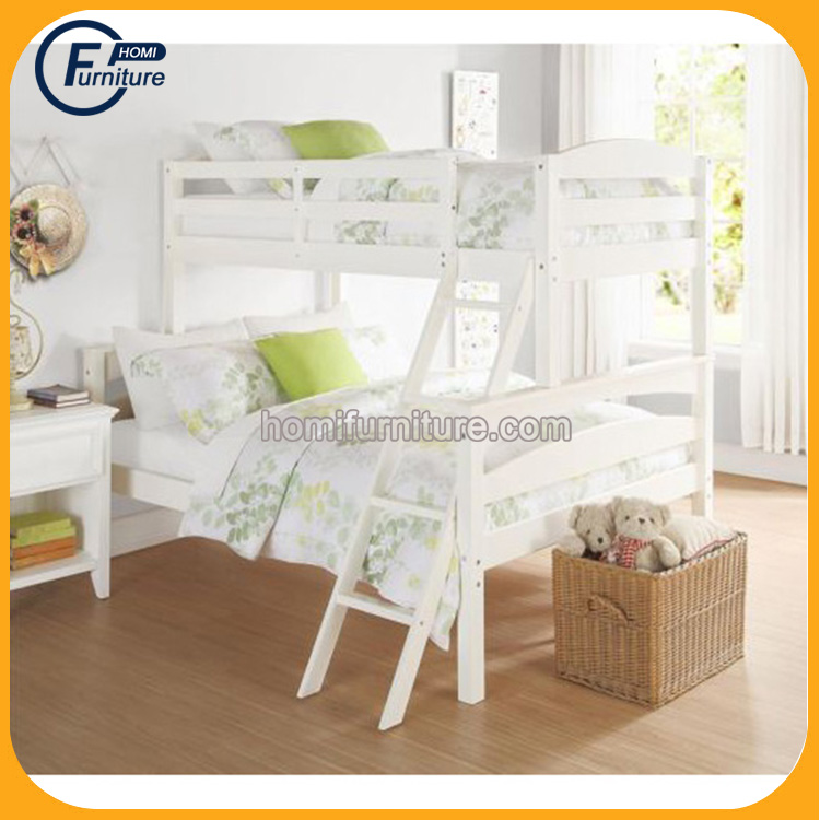 New Modern Designs Popular Solid Pine Wood MDF Twin Over Queen Bunk Loft Bed with Staircase