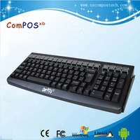 good quality keys usb PS/2 pos terminal programmable keyboard with MSR card reader