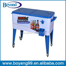 Rolling ice chest patio beverage cooler