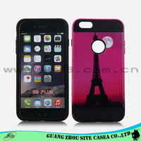 Two tone design customized decal shell combo mobile phone case For iPhone 6G plus