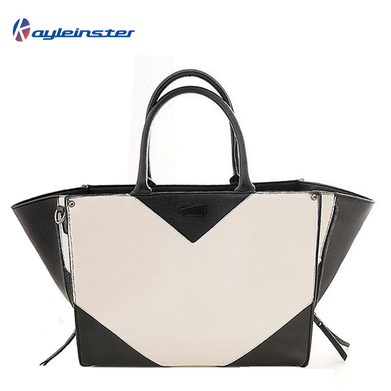 cfa8bab32fe9 Get Quotations · Famous Brand PU Leather Women Handbag Black  White  Panelled Composite Leather Embossed Women Shoulder Bag Trapeze