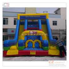 Authentic quality double slides customized printed inflatable dry slide for sale