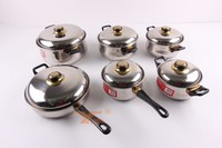 12pcs Capsuled bottom 201 stainless steel gold cookware set