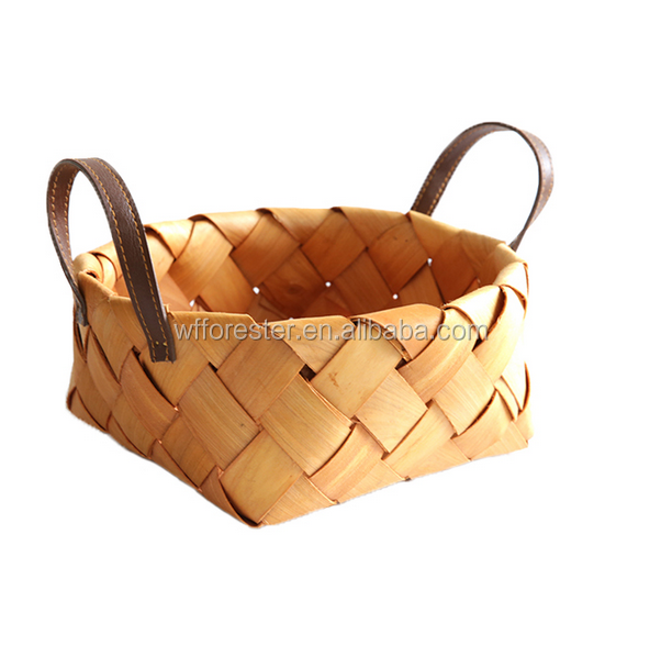 Wholesale high quality cheap woven wooden fruit basket