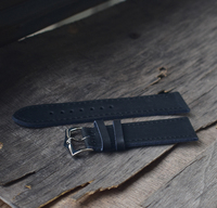 Black leather 20mm strong watch band europe handmade strap