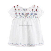 Children frock small girl carters flower embroidery plain white baby girl dress