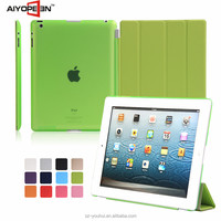 High Quality Smart Magnetic Four Folded Flip Cover Auto Wake Up Case for iPad 2/3/4 for Apple 2/3/4 Tablet