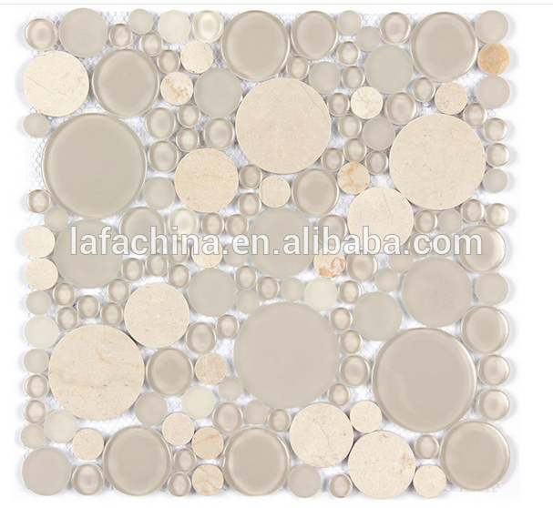 Best Price Hot Sale Round Marble Mix Glass Mosaic Tile