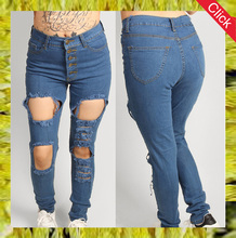 Custom plus sizetight legging trousers skinny denim women jeans with hole
