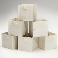 Foldable Fabric Storage Boxes Organizer Bins - 6 Beige Cubes Baskets