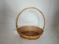 2015 best seller handle basket, flower basket weaved with round willow in honey color