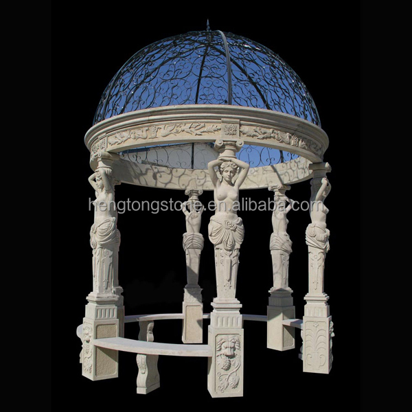 Stone Carving Garden Gazebo with Girl Statues