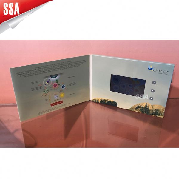 "2014 popular 5"" promotional lcd video brochure card, video printed card, video in printed paper"