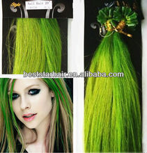 Salon Professional U-tip Nail Tip Hot Fusion Keratin Hair Extension Green Human Hair Celebrity Hair Extension