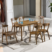 european simple style dining room furniture square solid rubber wood expandable dining table sets