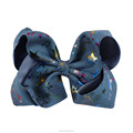 7 inch New arrival denim print star hair accessories decoration hair bow