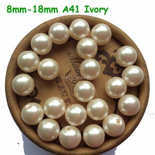 Wholesale Snow White 8mm 10mm 12mm Imitation Loose Acrylic Pearl Beads For Chunky Kids Necklace A41