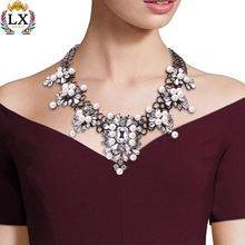 xNLX-00349 wholesale fashion gun black plated chunky crystal necklace heavy pearl necklace set pearl jewelry necklace chain