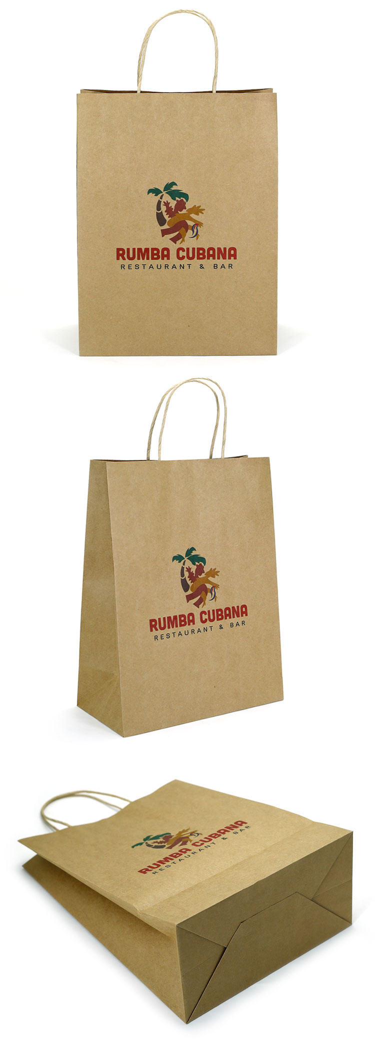 KPBSL1726 cheap recycled custom printing logo,high quality kraft paper bag for food