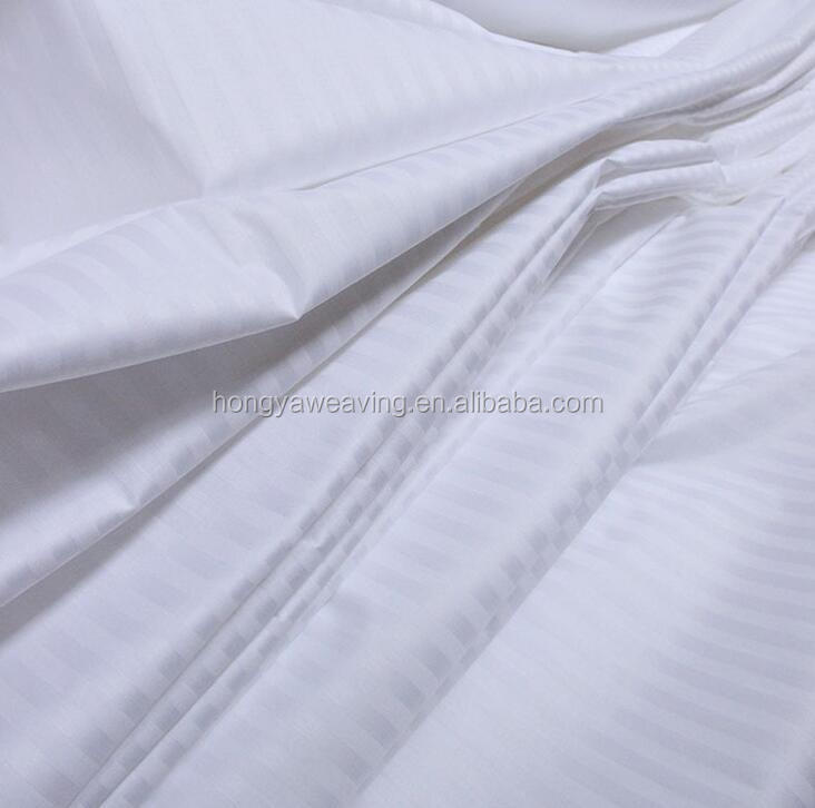 High quality cotton stripe hotel bedding fabric for hotel and home used