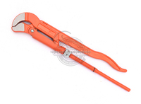 "JL1303 manufacture heavy duty 2"" S type bent nose orange adjustable pipe wrench with black plastic handle"
