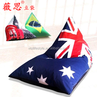 AU flag triangle bean bag chairs cheap sofa, polyester corner bean bag lounge furniture wholesale