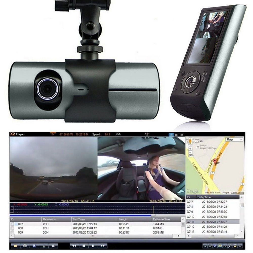 G-Sensor GPS Dual Lens Vehicle Car DVR Camera Video Recorder