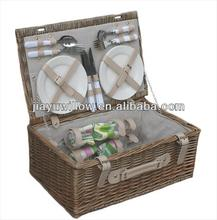 Linyi Wicker Picnic flatware Basket set for 4 persons