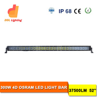 52inch dual row spot flood led light bar 4WD 4X4 Truck Roof Bumper Offroad Lamp 4D lens 400w offroad led light bar