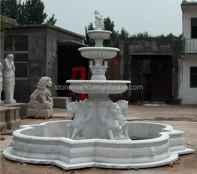 Italian style outdoor ornaments large marble horse garden fountain for sale