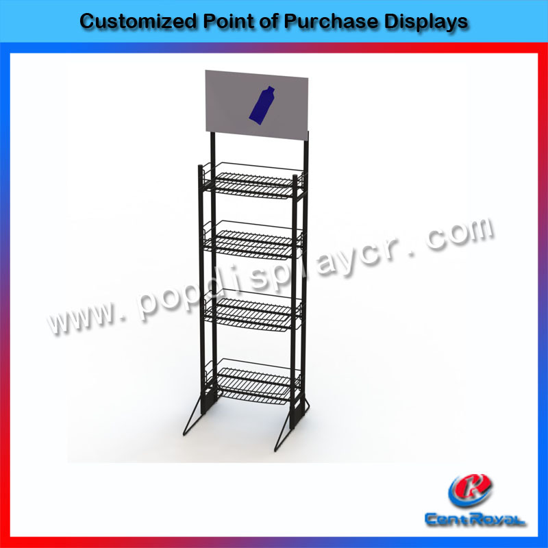 floor standing soft drink wire mesh display racks