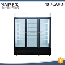 New design triple door showcase chiller beverage refrigerator with hot gas evaporated drip tray