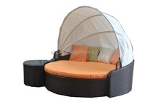 Hot selling rattan wicker sun daybed with canopy
