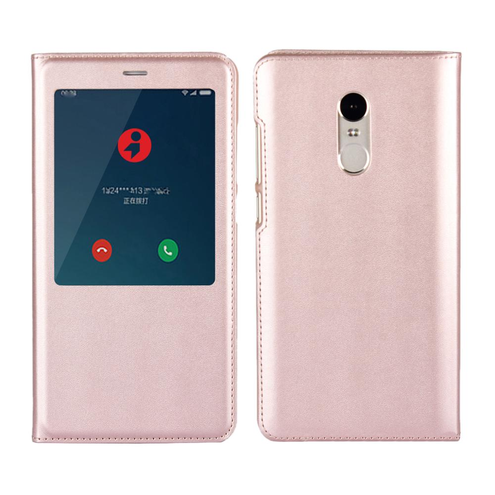 New Product Mobile Phone Accessories Flip Cover PU Leather View Case for Xiaomi Redmi Note 4 with Auto Sleep Function