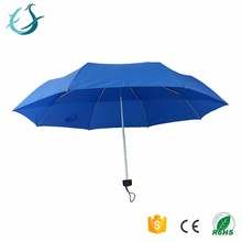 OEM 23 inch light blue fold umbrella with rubber coated handle