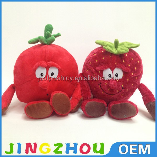 Factory customized plush strawberry toys stuffed cartoon fruit dolls cuddly plant throw pillow