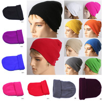 Ladies Acrylic Baggy Beret Chunky Knit Knitted Braided Beanie Hat Ski Cap