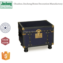 Antique rectangular blue fabric canvas storage trunk, luggage trunks, old steamer trunks with wooden legs