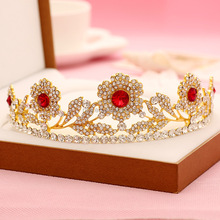 Fancy Handmade Ruby Red Floral Rhinestone Tiara and Crown for Women