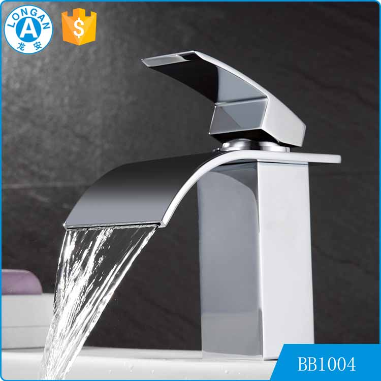 Unique modern cheap chromed polished thermostat waterfall wash basin bath room faucet mixer