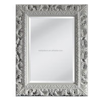 Good Quality Hand Made PU Material Pure White Carved Frame Mirrors