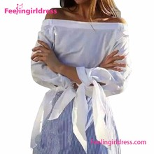 Free Shipping Fashion White Women Off Shoulder Tailoring Blouse Cutting