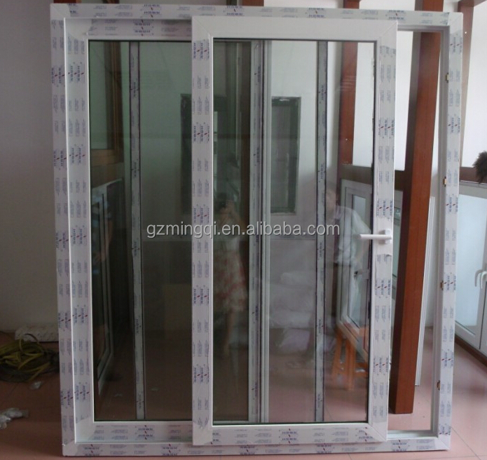 Upvc modern sliding door with mosquito net and multipoint for Upvc sliding glass doors