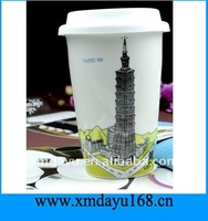 Double Wall Ceramic Travel Mug with silicone lid