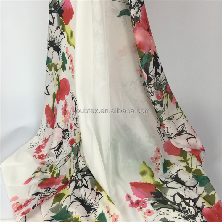 Hot sale cheap 75D flower chiffon printed fabric