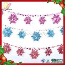 Hot sale plastic Festival hanging colorful christmas metal snowflake ornament