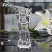 Transparent Lattice Pattern Crystal Glass Vase,High - grade Glass Vase,Strong and Practical Glass Flower Vase