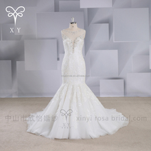 Mermaid design floor-length washable sleeveless Fiber Optic wedding dresses