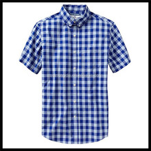 Newest stylish summer big check blueshort sleeve button down shirt cotton for men